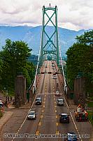 Lion's Gate Bridge in Stanley Park in Vancouver. BC, Canada