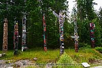 Group of totems in Stanley Park in Vancouver. BC, Canada