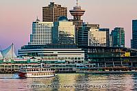 Paddlewheeler and downtown buildings in Vancouver. BC, Canada