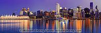 Panorama of downtown Vancouver buildings at twilight. BC, Canada