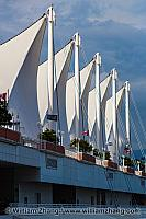 Sails on roof of Canada Place in Vancouver. BC, Canada