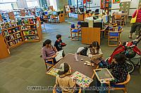 Kids visit Central Library in Vancouver. BC, Canada