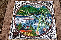 Lion's Gate Bridge Mosaic in Vancouver. BC, Canada