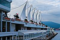 Cruise ships berth at Canada Place in Vancouver. BC, Canada