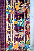 Detail of mosaic on facade of Paramount Theatre. Oakland, CA