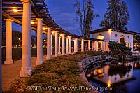 Pergola lights and path at edge of Lake Merritt. Oakland, CA