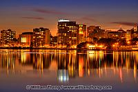 Reflections of apartment lights on Lake Merritt. Oakland, CA