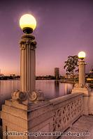 Lampposts at twilight along Lake Merritt. Oakland, CA