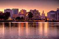 View across Lake Merritt to City Hall in distance. Oakland, CA