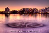 Lake Merritt fountain at twilight. Oakland, CA