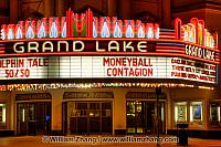 Neon lights of Grand Lake theater sign. Oakland, CA