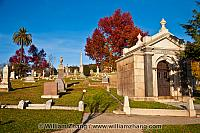 Monuments on hill at Mountain View Cemetery. Oakland, CA