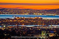 View of San Francisco in the distance across the bay. Oakland, C