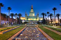Temple of Latter Day Saints with stream at twilight. Oakland, CA