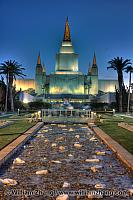 Night lighting at LDS temple in hills. Oakland, CA
