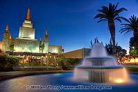 Fountain in front of LDS temple at night. Oakland, CA