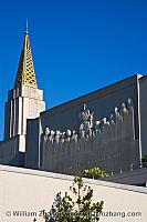 Frieze on upper wall of LDS temple. Oakland, CA