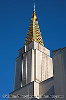 Gold spire at corner of LDS temple. Oakland, CA