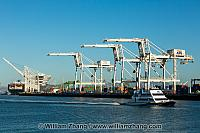 Ferry and cranes in Middle Harbor of port. Oakland, CA