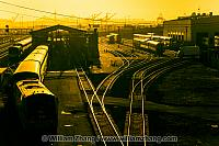 Amtrak 203 moves through Union Pacific Yard at port. Oakland, CA