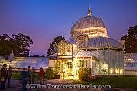 Lighted entrance of Conservatory of Flowers. San Francisco, CA