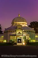 Night view of glass dome at Conservatory of Flowers. San Francis
