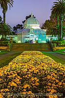Flower bed and stairs lead to Conservatory of Flowers. San Franc