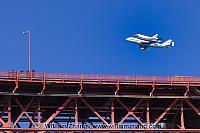 Shuttle Endeavor above bridge railing in San Francisco. CA